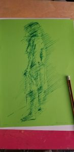 Female model on green paper, felt tip pen